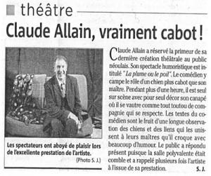 Un article de presse pour le spectacle la plume ou le poil de Claude Allain